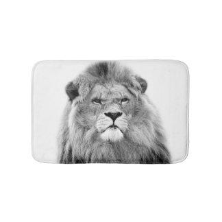 Black and white animal lion wild jungle photo bath mat