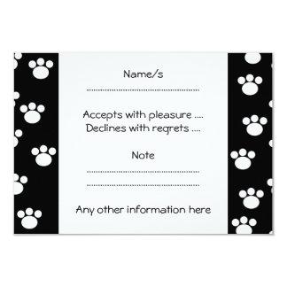 "Black and White Animal Paw Print Pattern. 3.5"" X 5"" Invitation Card"
