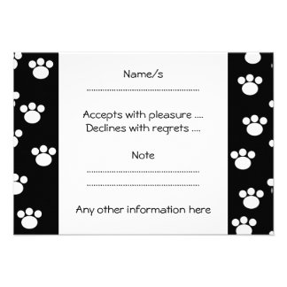 Black and White Animal Paw Print Pattern Personalized Announcements
