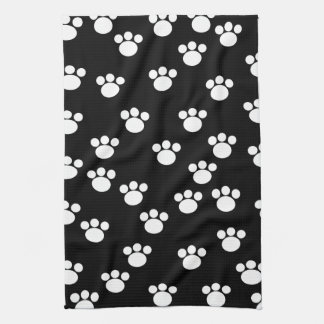 Black and White Animal Paw Print Pattern. Kitchen Towel