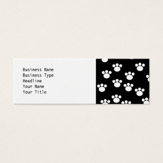 Black and White Animal Paw Print Pattern. Mini Business Card