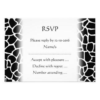 Black and White Animal Print Giraffe Pattern Custom Invite