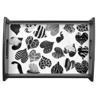 Black and white animal print hearts serving tray