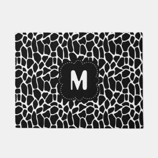 Black and White Animal Print with Custom Monogram Doormat