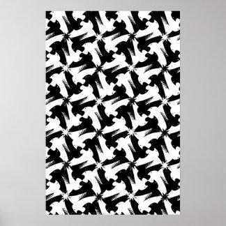 Black and white animal sylish classy pattern poster