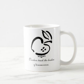 Black and white apple, Teachers teach the leade... Coffee Mug