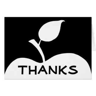 Black and White Apple Thank You Card