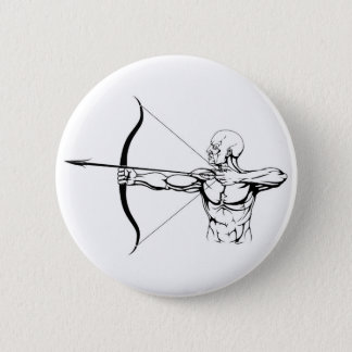 Black and white archer illustration 2 inch round button