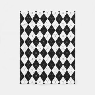 Black and White Argyle Fleece Blanket