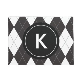 Black and White Argyle Monogram Doormat