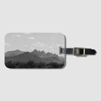 Black and White Arizona American West Mountains Luggage Tag
