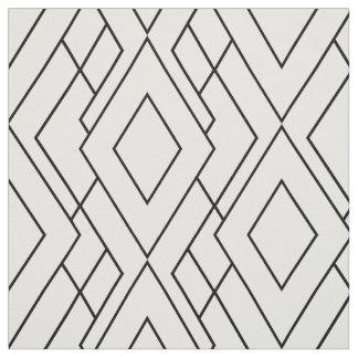 Black and White Art Deco Diamond Pattern Fabric