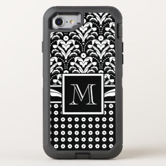 Black and White Art Deco Floral Damask OtterBox Defender iPhone 7 Case