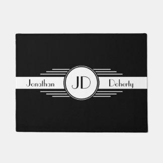 Black and White Art Deco Monogrammed Doormat