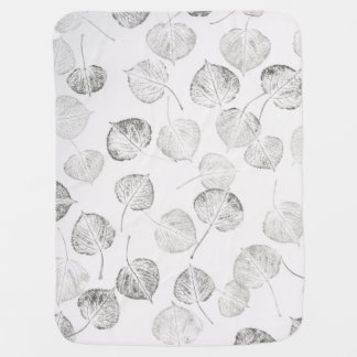 Black and White Aspen Leaves Baby Blanket