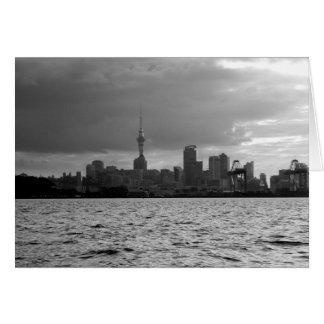 Black and White Auckland Skyline Card