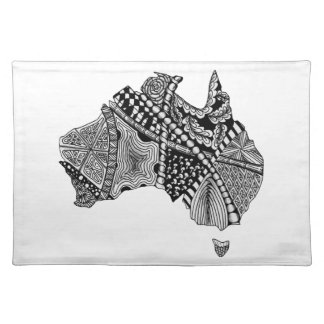 Black and White Australia Map Art Original Placemat