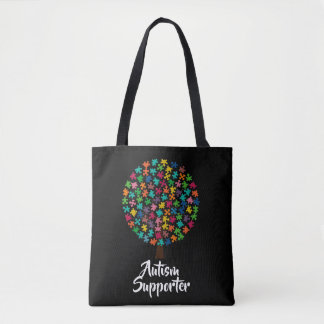 Black and white autism supporter tote bag