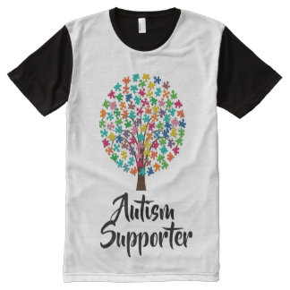Black and white autism supporter tshirt