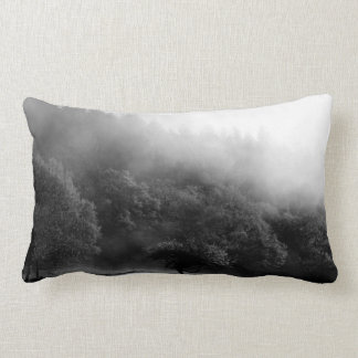 Black and White Autumn forest Lumbar Pillow