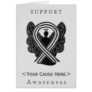 Black and White Awareness Ribbon Angel Custom Card