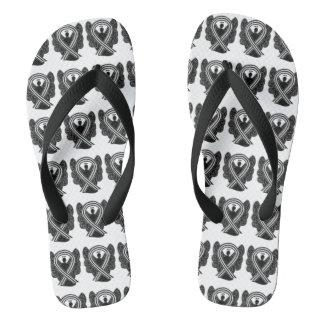 Black and White Awareness Ribbon Angel Flip Flops