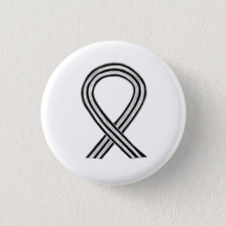 Black and White Awareness Ribbon Angel Pin Buttons