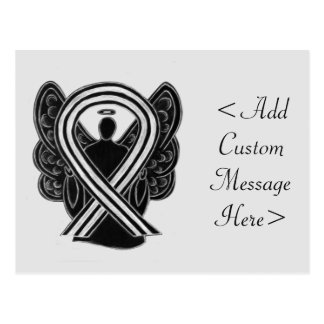 Black and White Awareness Ribbon Angel  Postcard