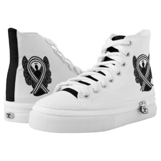 Black and White Awareness Ribbon Angel Shoes