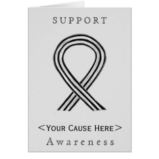 Black and White Awareness Ribbon Custom Card