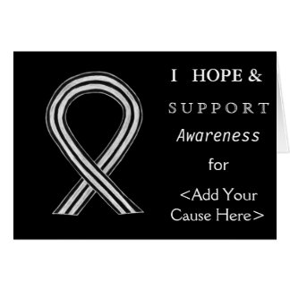Black and White Awareness Ribbon  Greeting Cards