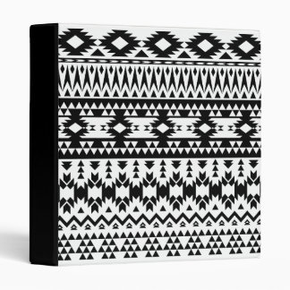 Black and White Aztec geometric vector pattern 3 Ring Binder