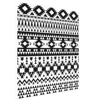 Black and White Aztec geometric vector pattern Canvas Print