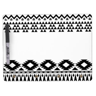 Black and White Aztec geometric vector pattern Dry Erase Board With Keychain Holder
