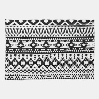 Black and White Aztec geometric vector pattern Kitchen Towel