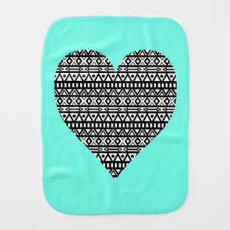Black and White Aztec Heart Baby Burp Cloths
