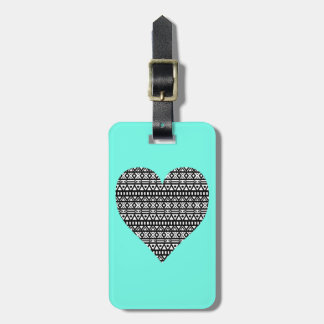 Black and White Aztec Heart Bag Tag