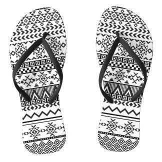 Black and White Aztec Pattern Flip Flops