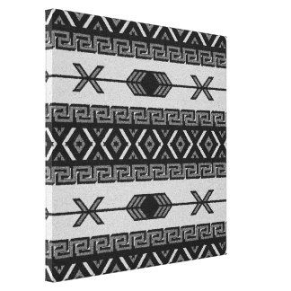 Black And White Aztec Pattern Southwest Wall Art Stretched Canvas Print