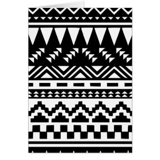 Black and White Aztec Tribal Card