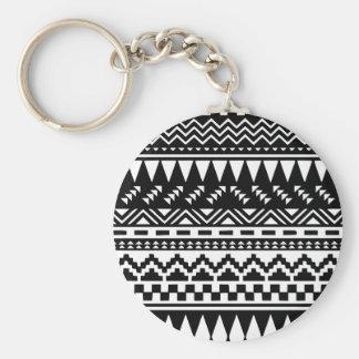 Black and White Aztec Tribal Keychain