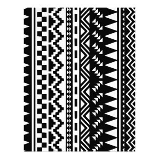 Black and White Aztec Tribal Letterhead