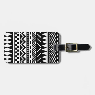 Black and White Aztec Tribal Luggage Tag