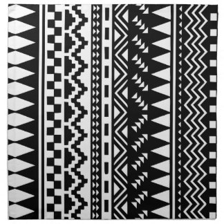 Black and White Aztec Tribal Napkin