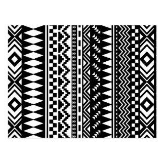 Black and White Aztec Tribal Postcard
