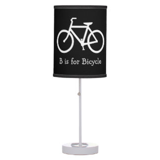 Black and White B is for Bicycle Table Lamp