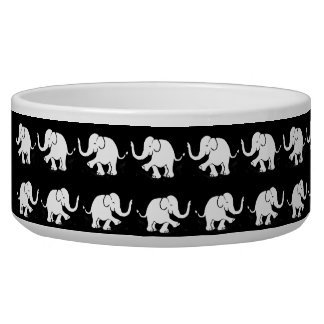 Black and White Baby Elephants Parades Pet Food Bowls