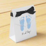Black and White Baby Footprints Party Favor Box