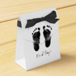 Black and White Baby Footprints Wedding Favor Box