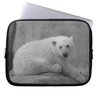 Black and White Baby Polar Bear Laptop Sleeve